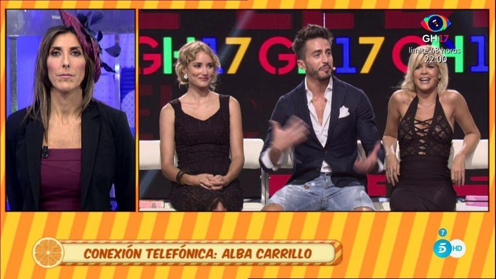 """Alba Carrillo aclara su comentario sobre la colaboradora: """"A mi Belén me cae muy bien"""""""