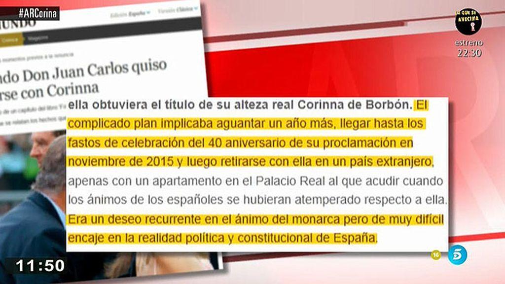 Don Juan Carlos quiso casarse con Corinna, según la periodista Ana Romero