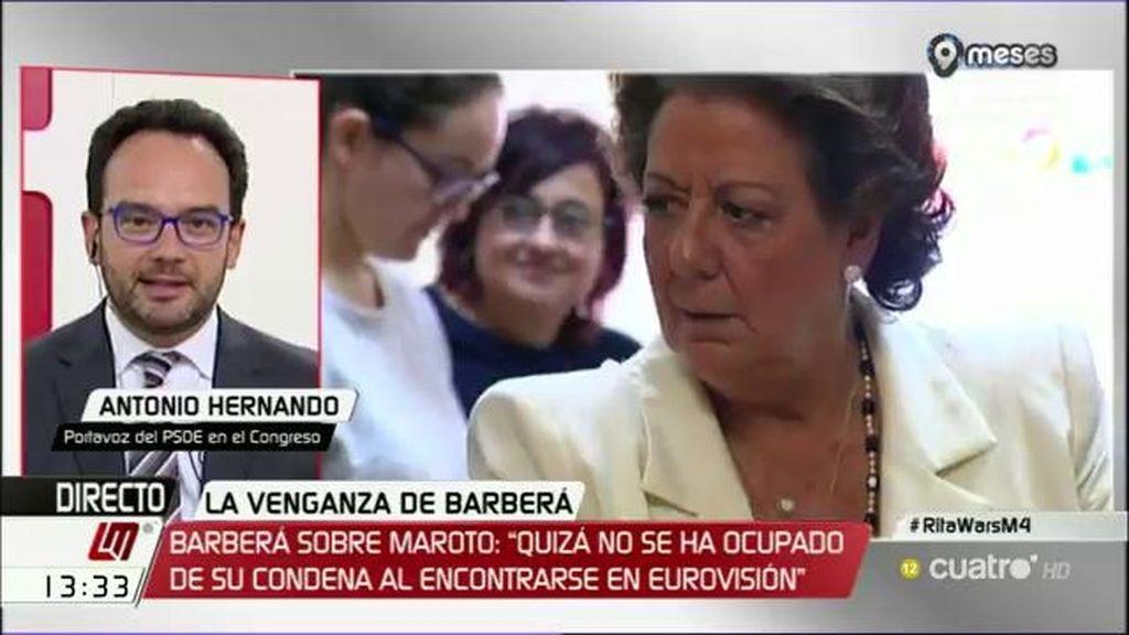 """A. Hernando: """"Da la impresión de que Barberá está como en el chiste del dentista diciendo: 'vamos a no hacernos daño"""""""