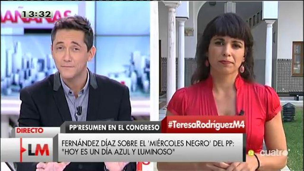 """Teresa Rodríguez: """"Le han robado el dinero a la mayoría social para dárselo a los bancos y a las grandes empresas"""""""