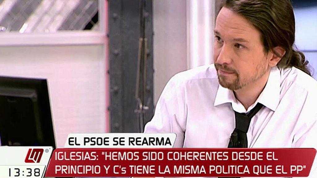 """Pablo Iglesias: """"Pedro Sánchez no se debería equivocar de adversario, el adversario no somos nosotros, es el PP"""""""