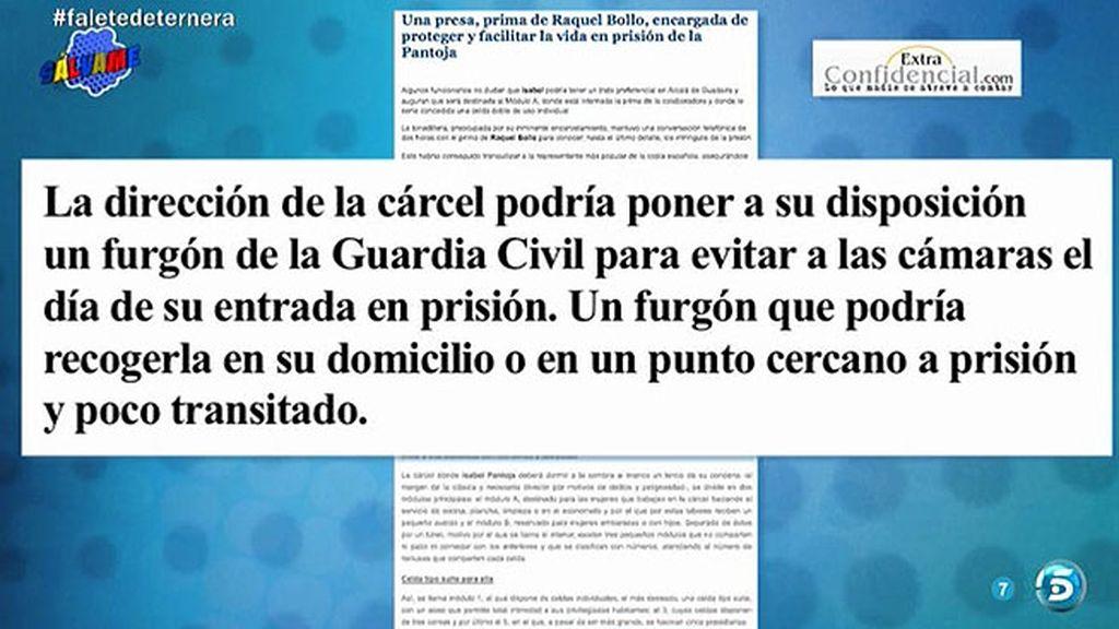 Isabel Pantoja podría acceder a la cárcel con un furgón policial, según Ángela Portero