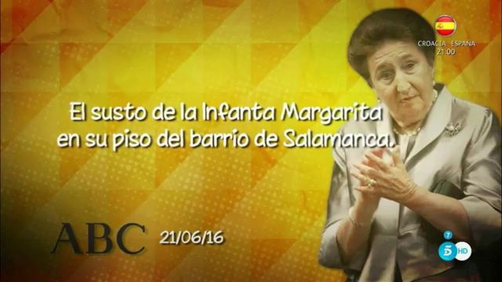 La infanta Margarita, hospitalizada por un accidente doméstico