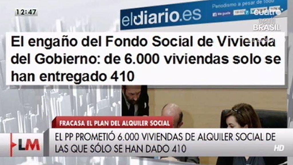 De 6.000 viviendas del fondo social se han entregado 410, según 'El diario'