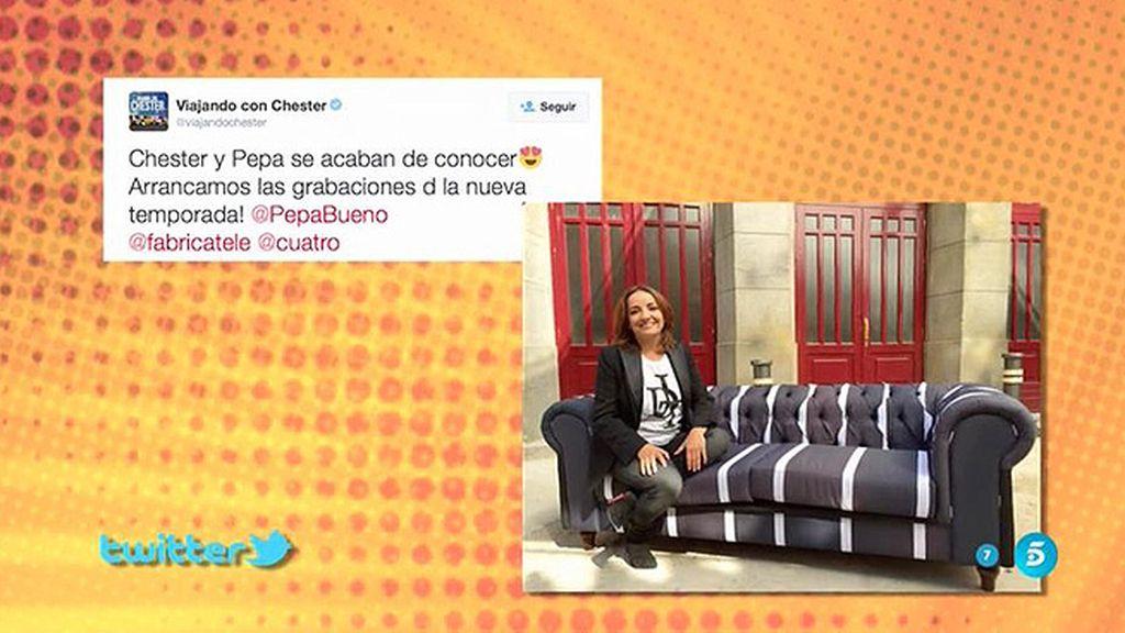 """Pepa Bueno, en Twitter: """"Chester y Pepa se acaban de conocer"""""""