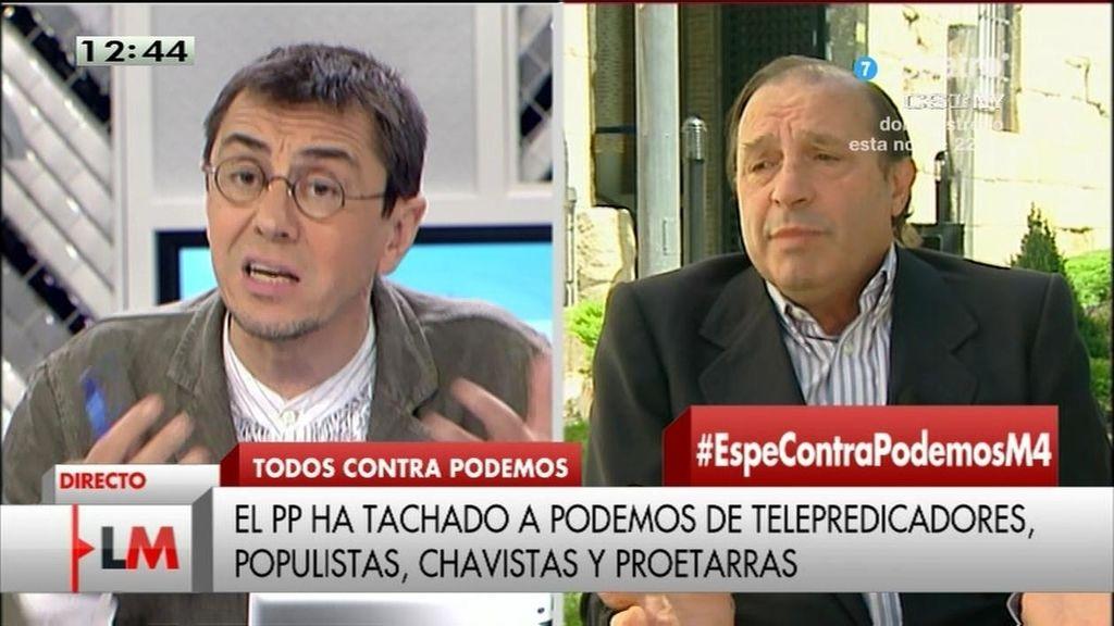 """Monedero, a Martínez-Pujalte: """"Cuando pienso en la casta, pienso en su trayectoria"""""""
