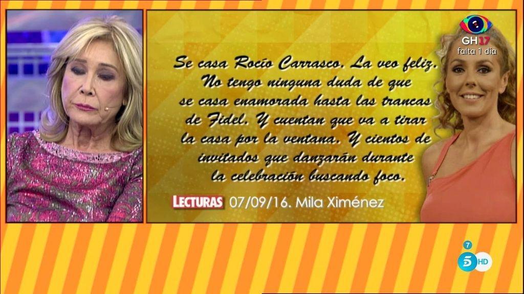 """Mila: """"Rosa Benito y Chayo Mohedano son unas falsas porque ponen verde a Rocío"""""""