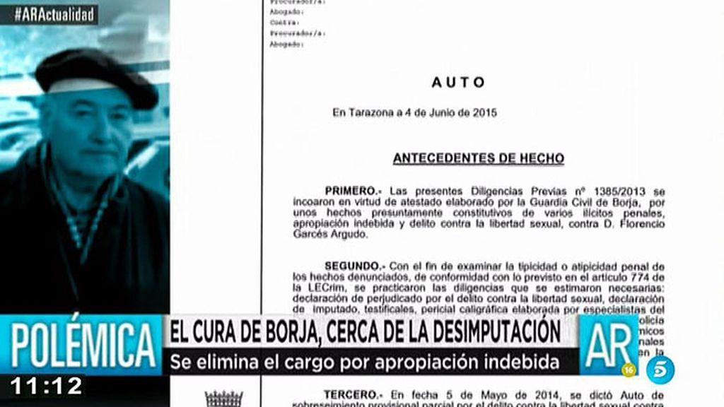 Se elimina el cargo de apropiación indebida contra el cura de Borja