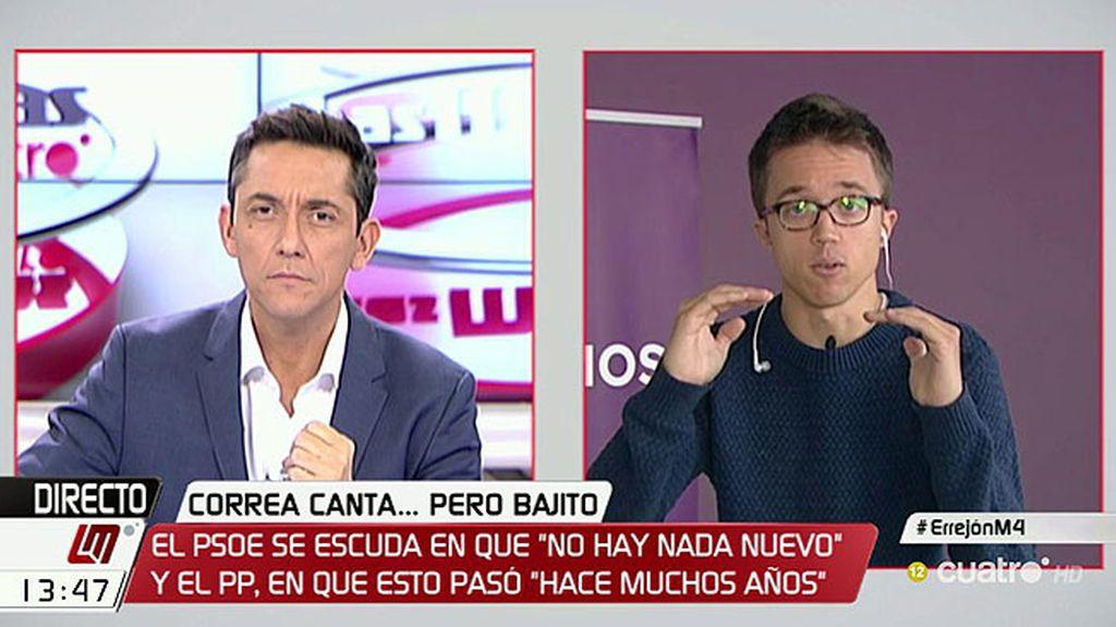 """Errejón: """"Me ofende profundamente que el PSOE se haya acostumbrado a la corrupción"""""""