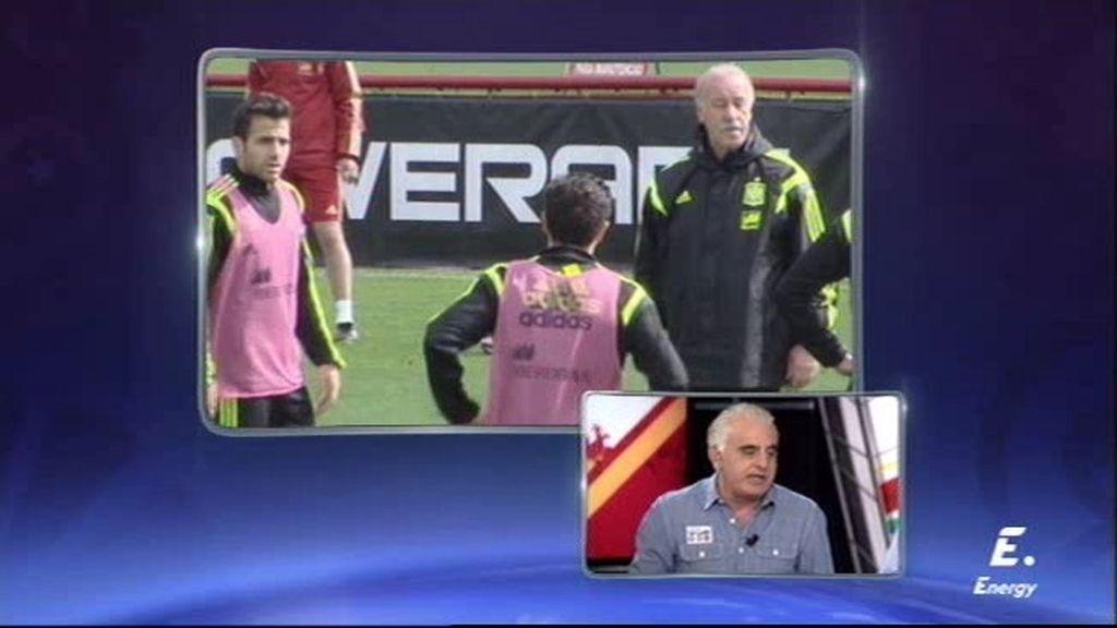 Vicente del Bosque se enfada con Cesc y le ordena darle el peto a Xabi Alonso