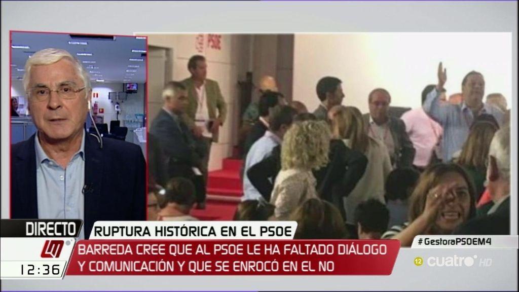 """Barreda defiende la abstención: """"Si hay elecciones, el PP podría aumentar la diferencia"""""""