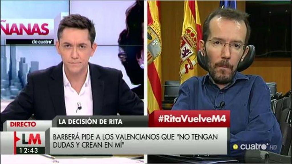 """Pablo Echenique, de Rita Barberá: """"La responsabilidad política es más que evidente"""""""