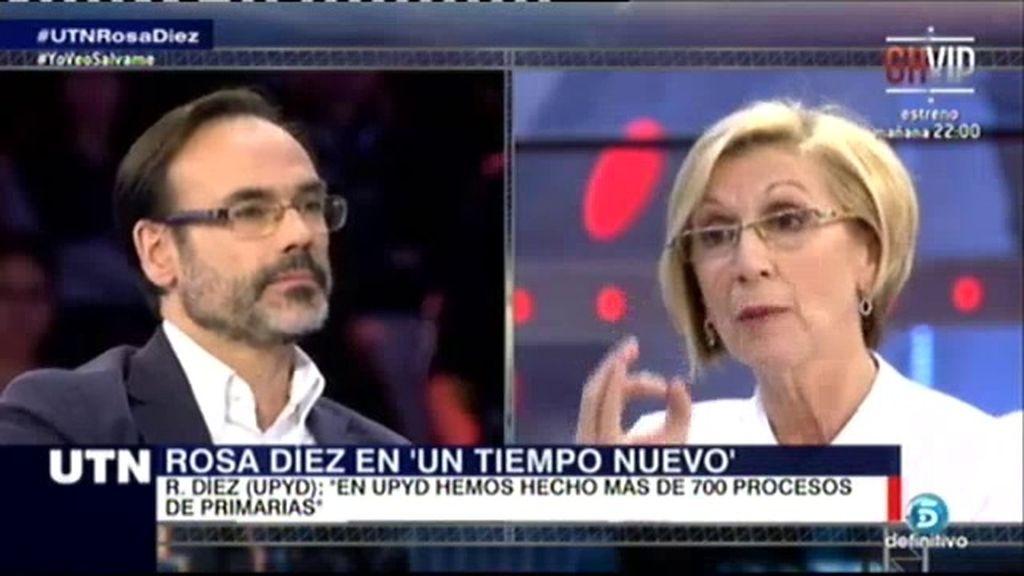 """Rosa Díez: """"A Sosa Wagner no le echamos, solo sustituimos su puesto de portavoz"""""""