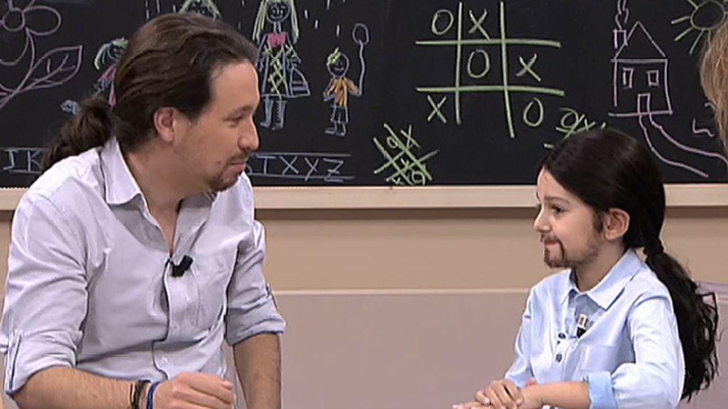 """Iglesias, encantado con 'mini Pablo': """"Podríamos repartir el trabajo, ¿que hay que ir a ver a Rajoy? Vas tú"""""""