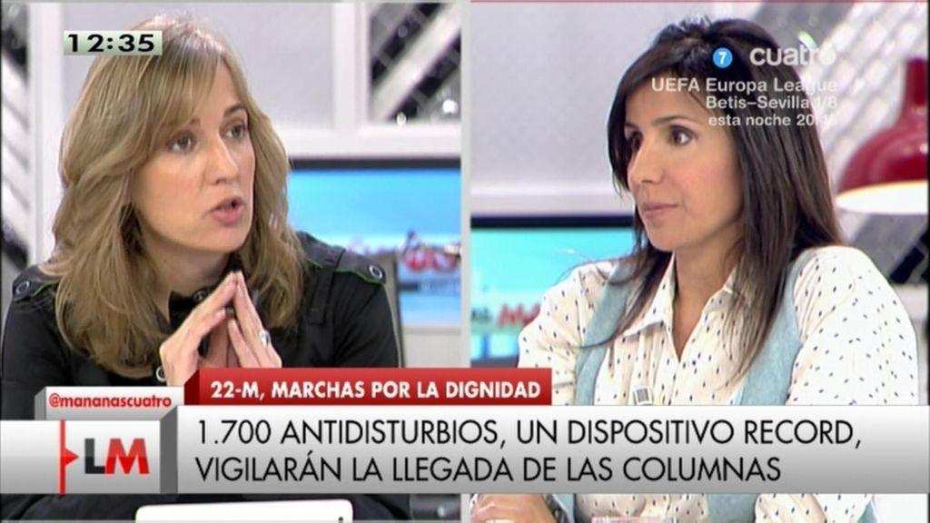 """Tania Sánchez: """"Nos preocupa que agentes externos revienten la marcha del 22M"""""""