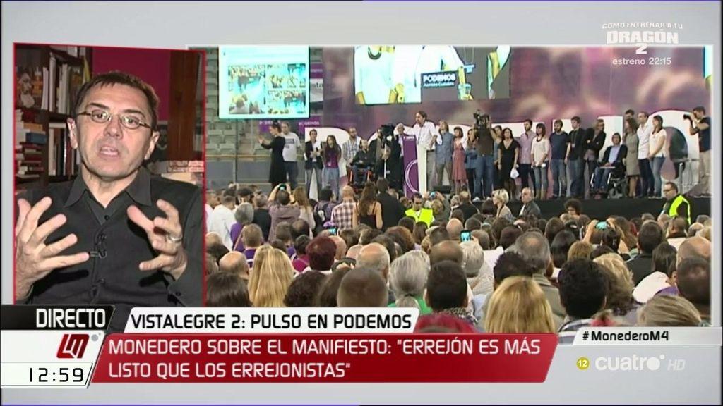 """Monedero: """"El errejonismo quiere ganar en los medios lo que ha perdido en el partido"""""""