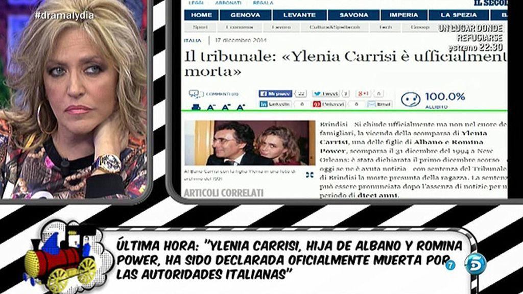 Ylenia Carrisi ha sido declarada oficialmente muerta