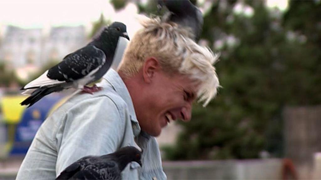"""El pelo de Nacho atrae a las palomas: """"No sé si lo habrán confundido con un nido"""""""