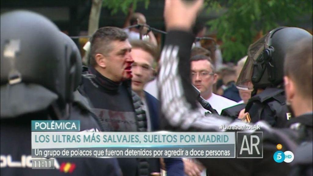 Los ultras más violentos del Legia, sueltos por Madrid