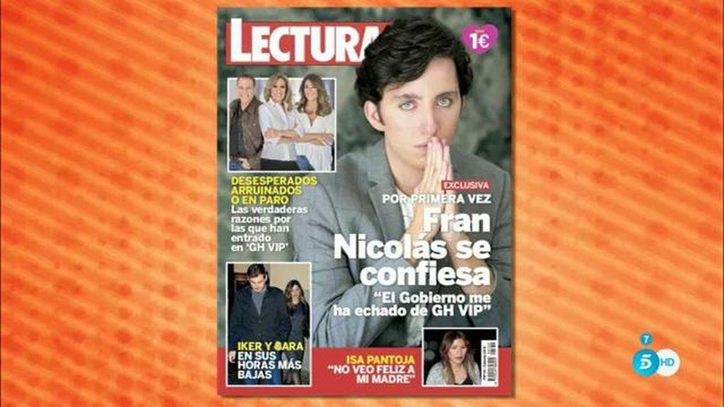 """Fran Nicolás, en Lecturas: """"El gobierno me ha echado de 'GH VIP"""""""