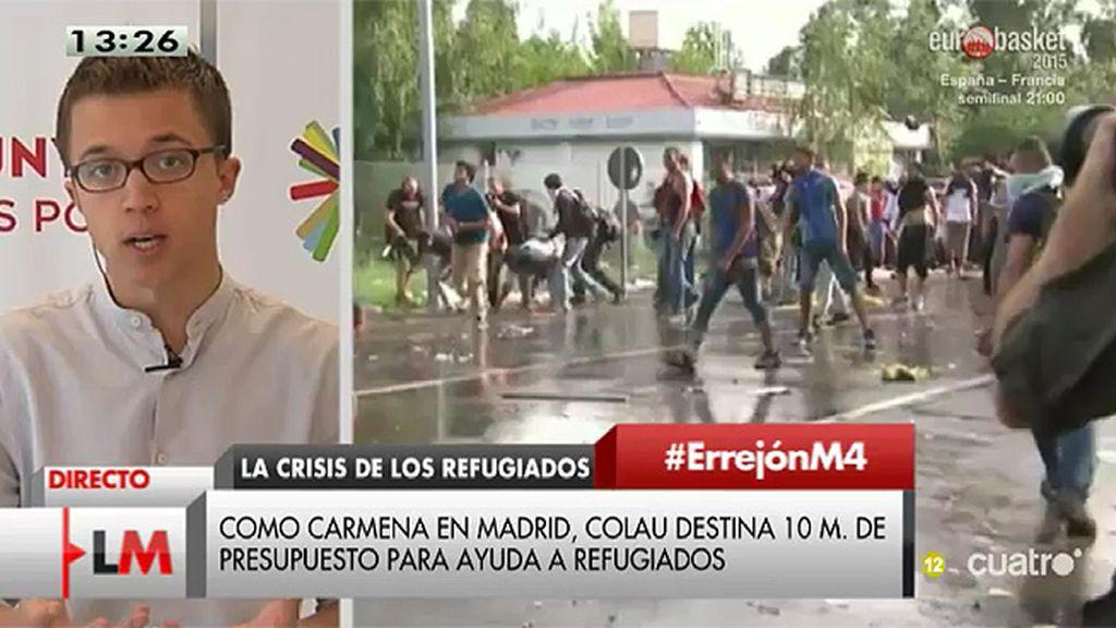 """Errejón: """"Cuando el gobierno mercadeaba con el número de refugiados, la sociedad y las alcaldías del cambio abrían sus ciudades"""""""
