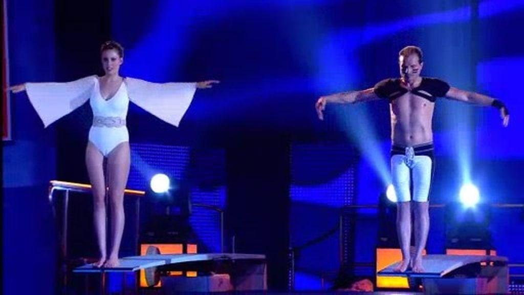 Andrea Huisgen y Javier Castillejo, un salto muy luchador