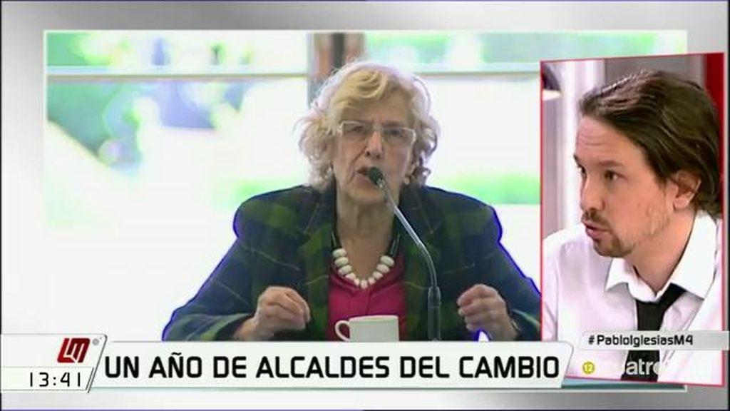 """Pablo Iglesias: """"Manuela Carmena nunca ha hecho campaña por nadie"""""""