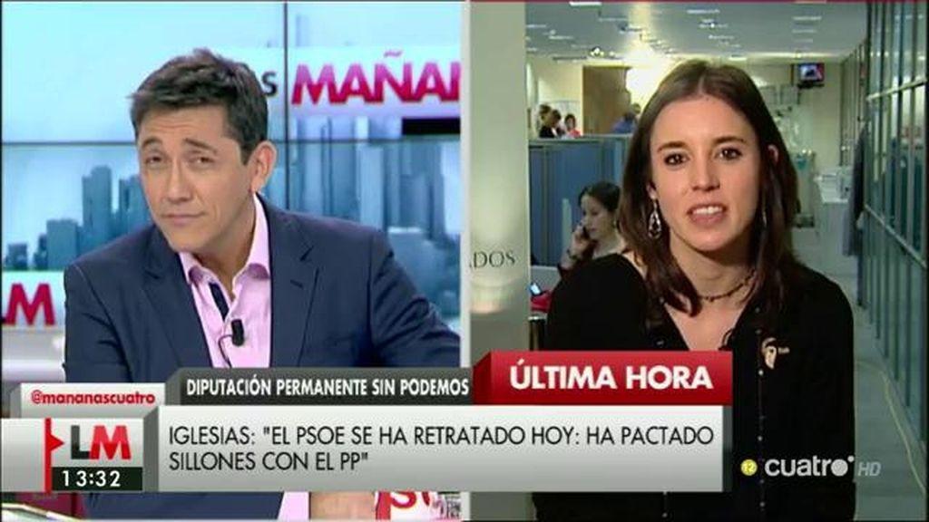 """Irene Montero, sobre el PSOE: """"Los hechos demuestran que están muy cómodos en esa gran coalición"""""""
