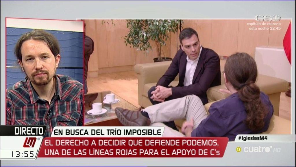 """Pablo Iglesias: """"Es preferible explorar la opción con nacionalistas a Rajoy"""""""