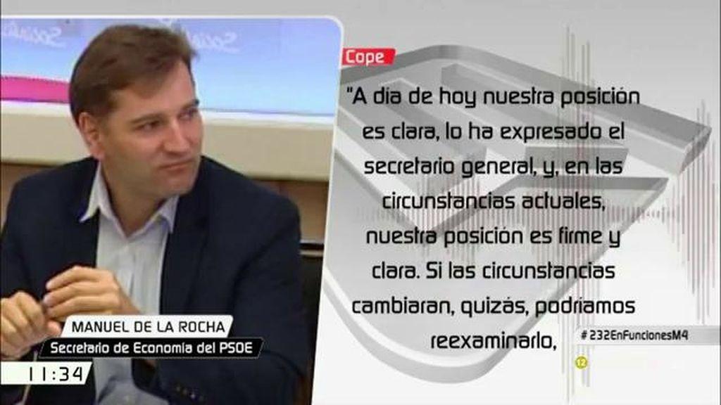 """Manuel de la Rocha, sobre el 'no' del PSOE: """"Si las circunstancias cambiaran, quizás podríamos reexaminarlo"""""""