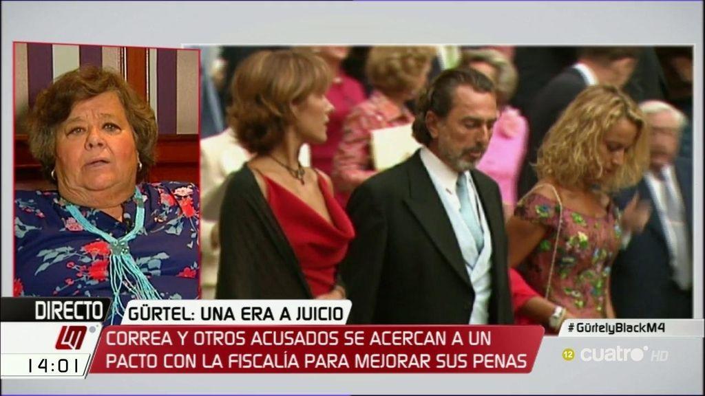 """Cristina Almeida, de Correa: """"Creo que puede cantar la marimorena"""""""