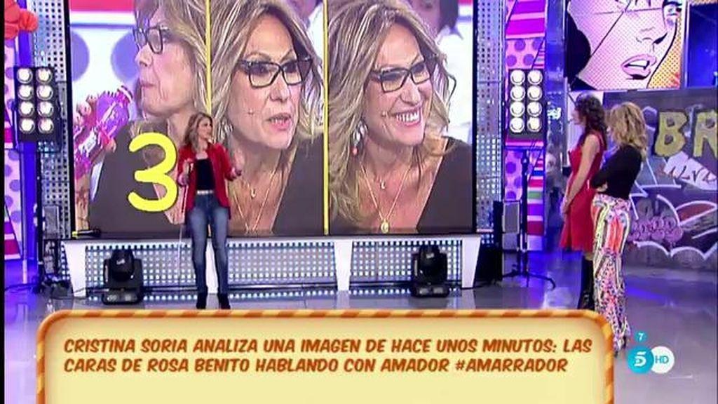 Cristina Soria analiza las caras de Rosa Benito hablando con Amador