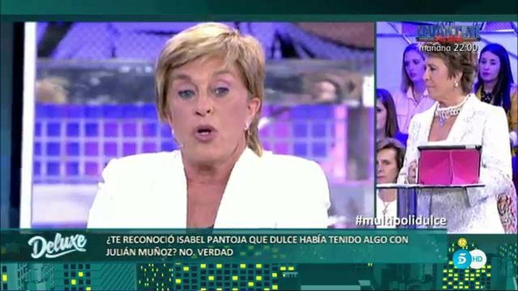 """Chelo, sobre el supuesto affaire entre J. Muñoz y Dulce: """"Isabel no dijo ni sí, ni no"""""""