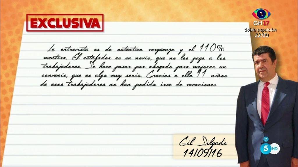 EXCLUSIVA: Gil Salgado envía una carta a nuestro reportero Kike Calleja desde la cárcel