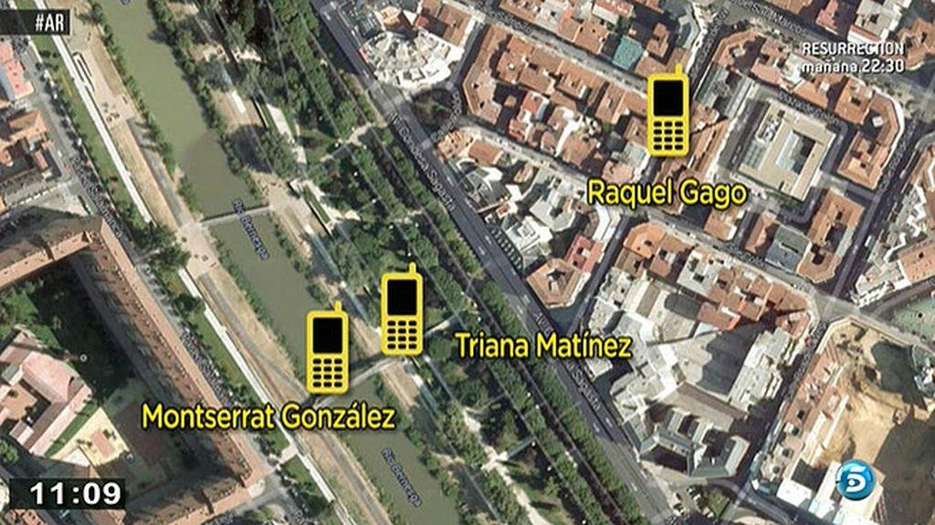 Los móviles de Triana, Montserrat y Raquel, muy cerca en el momento del crimen