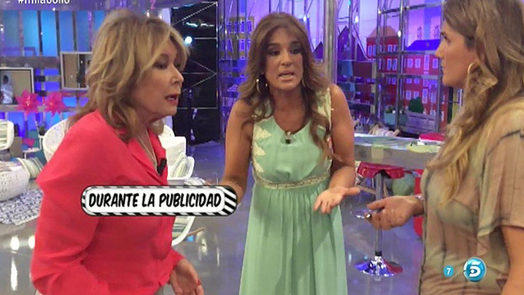 Raquel Bollo y Mila Ximénez tienen una bronca durante la publicidad de 'Sálvame'