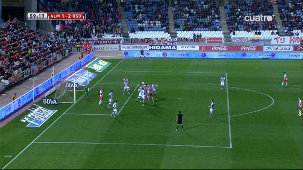 ¡Gol mal anulado al Almería por fuera de juego de Verza!