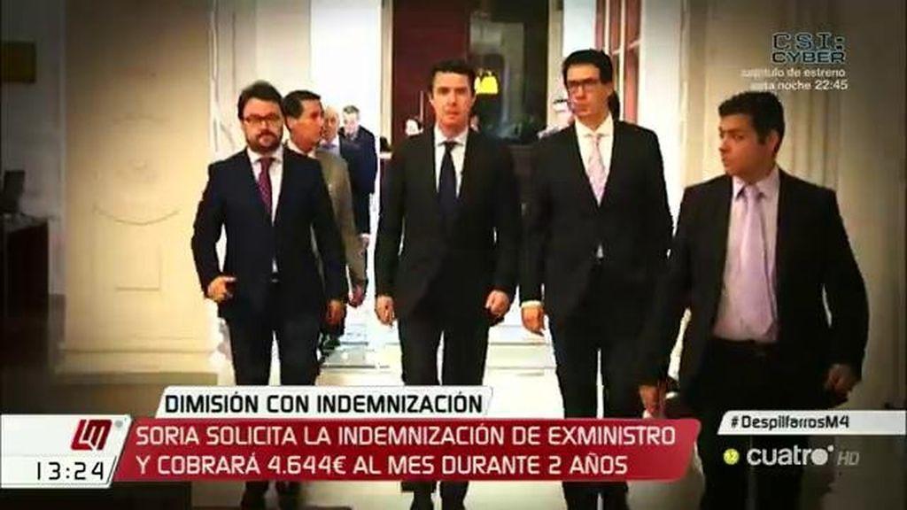 Soria solicita la indemnización de exministro y cobrará 4.644 euros al mes
