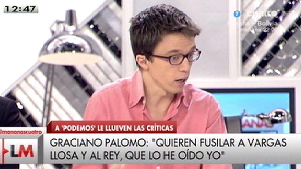 """Íñigo Errejón: """"Hay que generar miedo porque no se quiere hablar del drama social"""""""