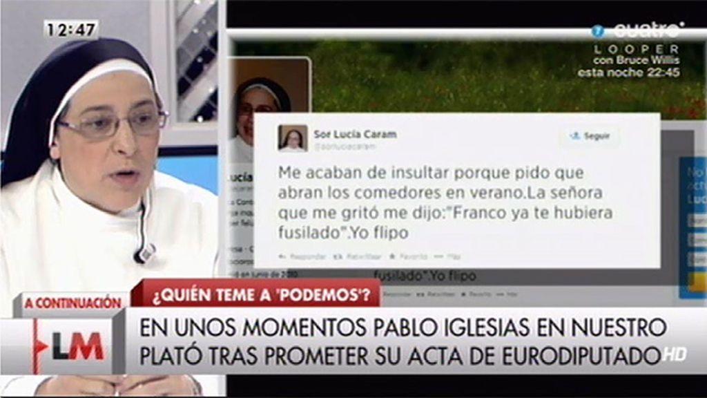 """Sor Lucía Caram: """"Una señora me gritó: 'Franco ya te hubiera fusilado"""""""