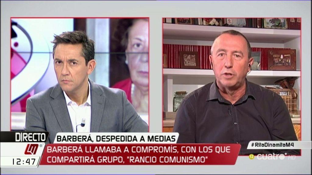 """Baldoví, sobre Rita Barberá: """"Si tuviera vergüenza torera, debería irse a casa"""""""