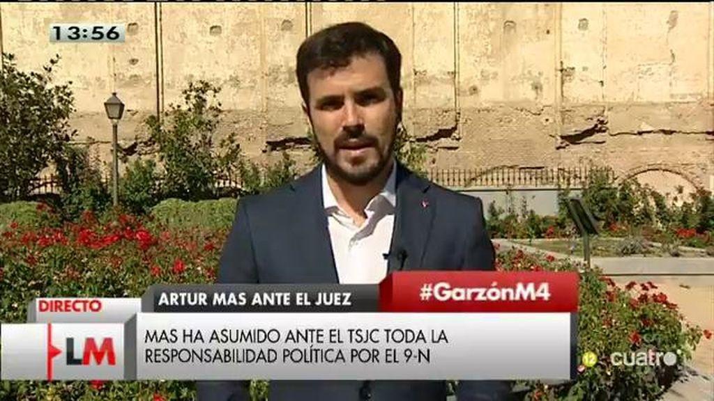 """A. Garzón, sobre Cataluña: """"Cuando tienes un problema política la peor de las soluciones es judicializarlo"""""""