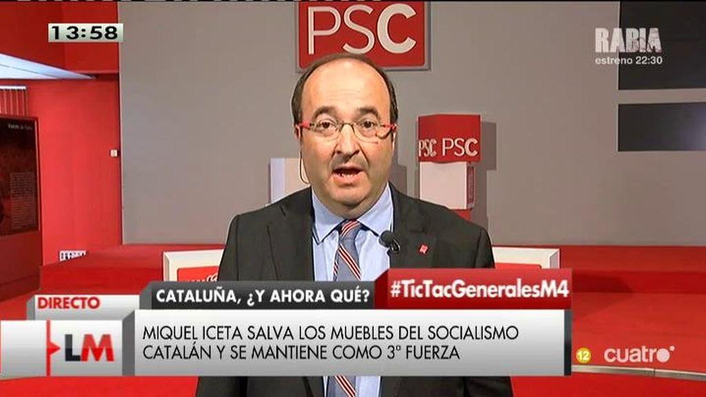 """Miquel Iceta, líder del PSC: """"Lo que ha salido claramente perdedor es el inmovilismo"""""""