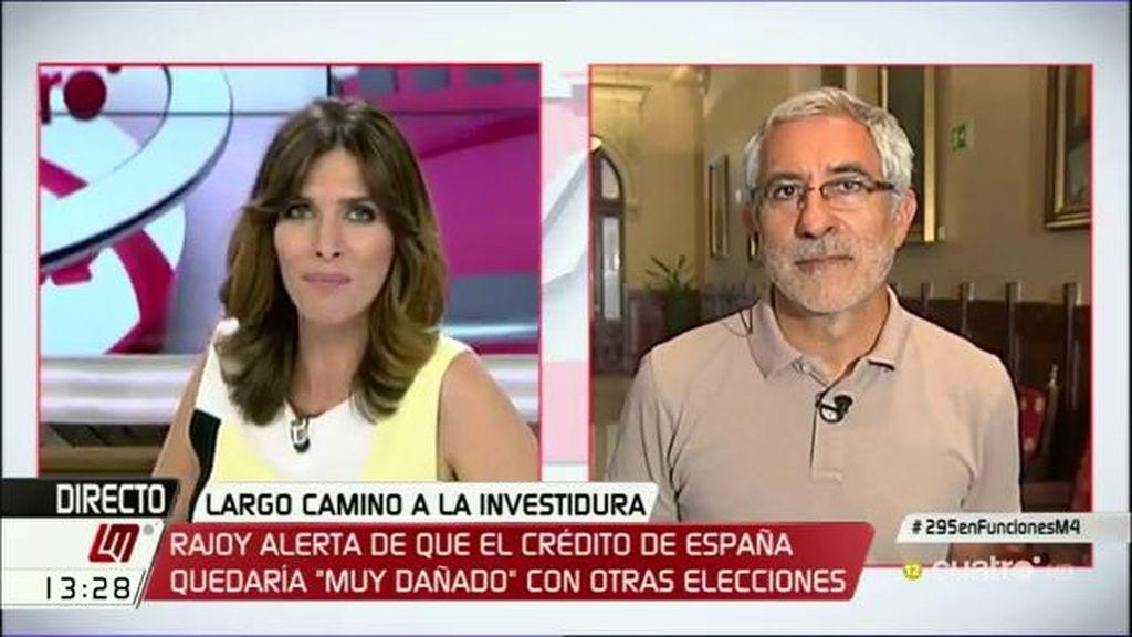 """Gaspar Llamazares: """"Creo que Rajoy está preparando unas terceras elecciones"""""""