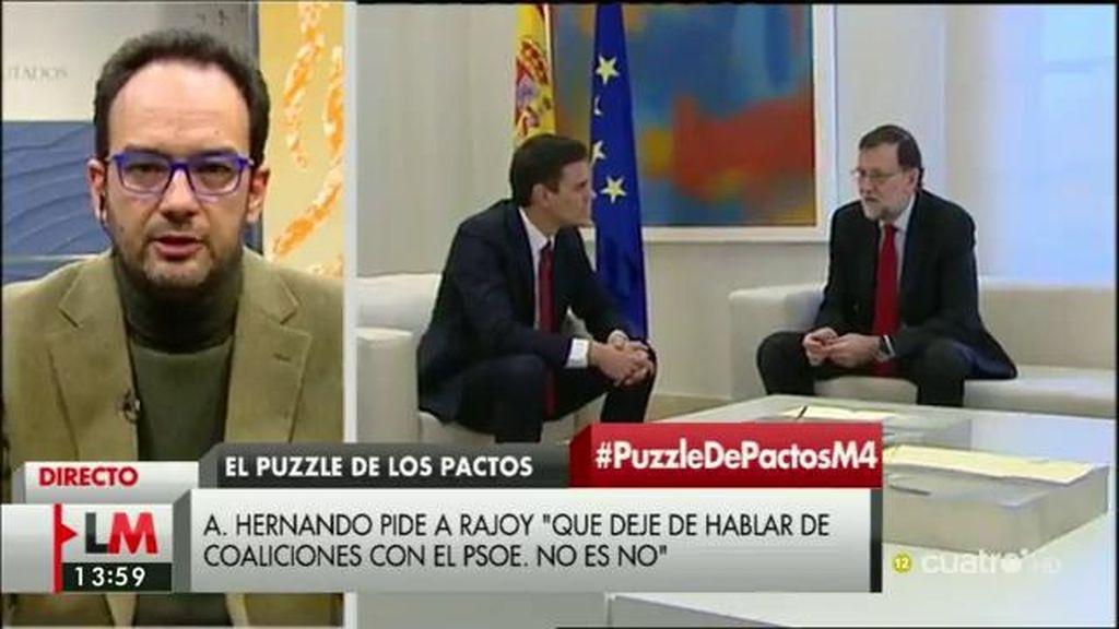 """A. Hernando: """"La unidad de España no la discutimos y lo que decimos a otros grupos es que no conviene que la pongan en duda"""""""