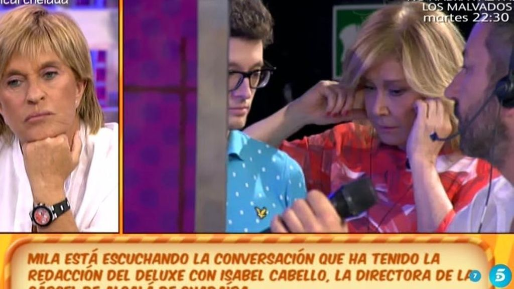 ¡Mila Ximénez escucha la conversación de la redacción de Deluxe con Isabel Cabello!