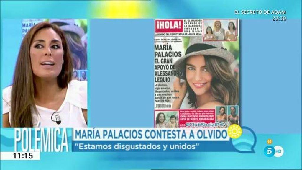 """María Palacios contesta a Olvido: """"Estamos disgustados y unidos"""""""