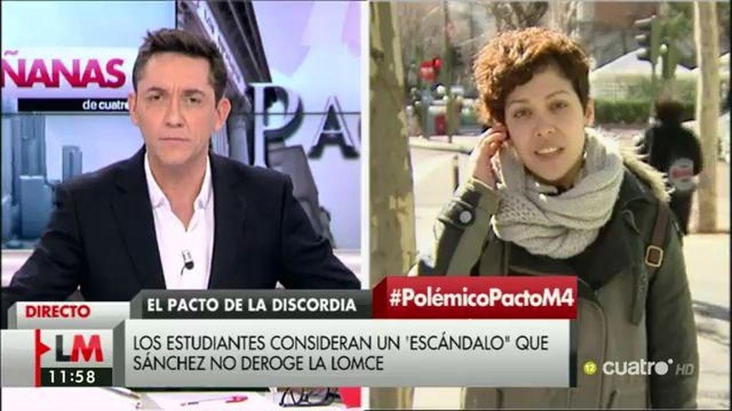 """Ana García (Sindicato de Estudiantes): """"Sánchez y la dirección del PSOE han preferido pactar con la derecha"""""""