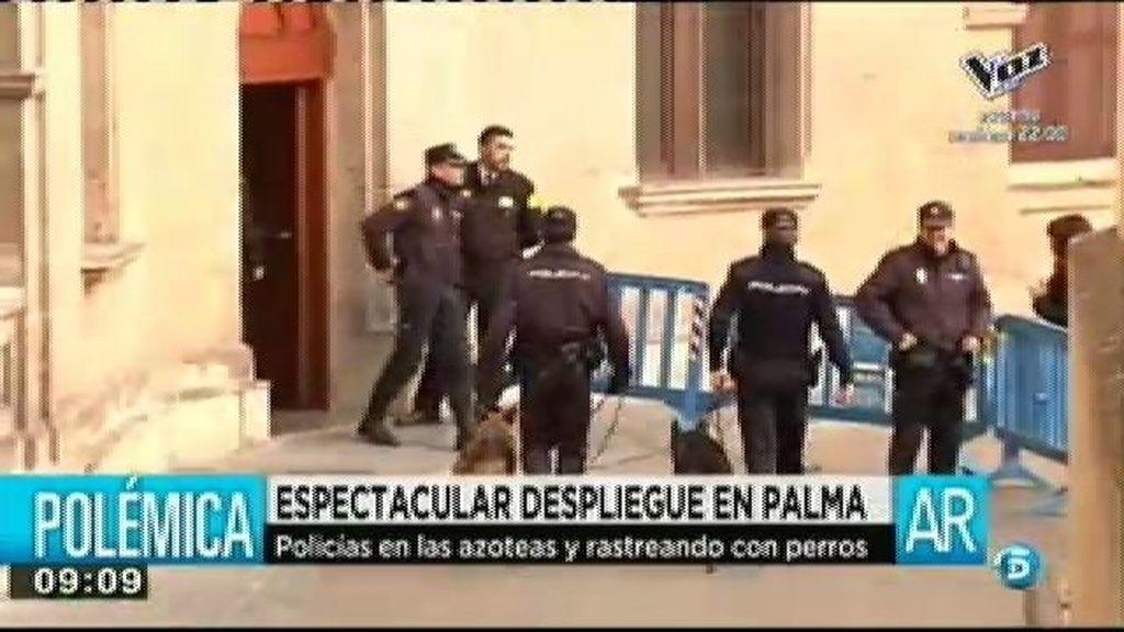Espectacular despliegue de seguridad en Palma de cara a la declaración de la Infanta