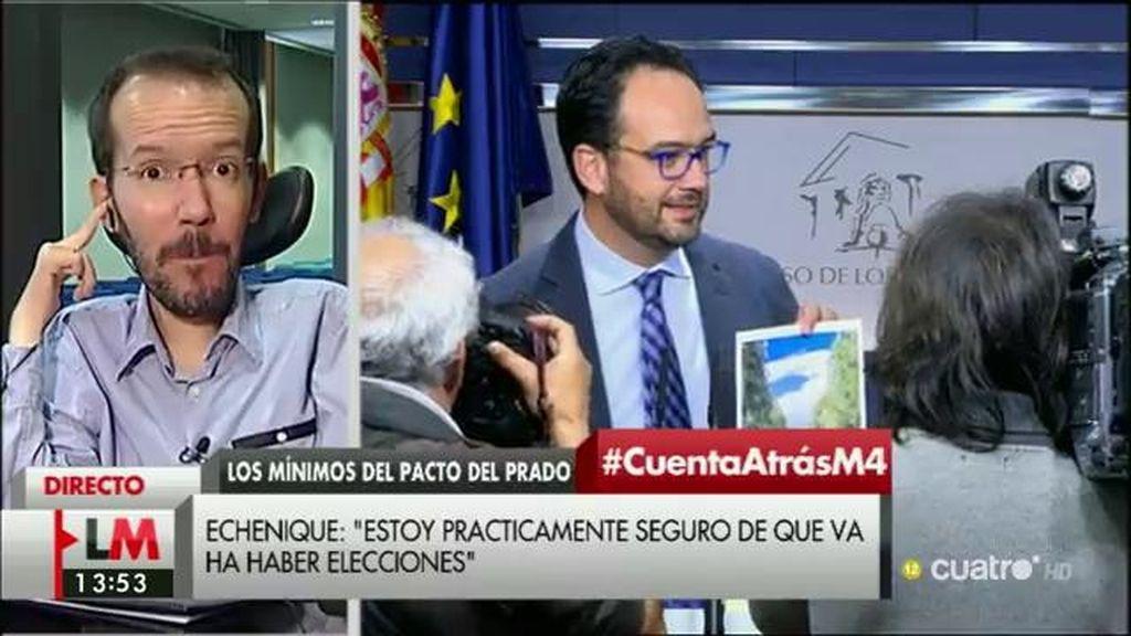 """Pablo Echenique, """"prácticamente seguro"""" de que habrá nuevas elecciones"""